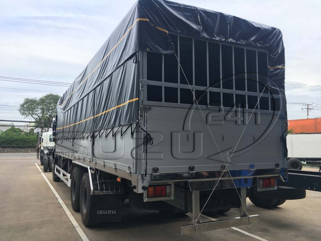 Bửng sau xe tải Isuzu 15 tấn FVM 1500 thùng mui bạt bửng nhôm