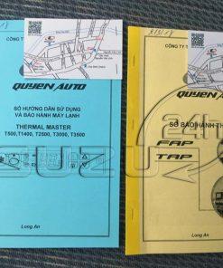 Sách hướng dẫn sử dụng thùng đông lạnh và sổ bảo hành thùng xe tải Isuzu 1t9 thùng đông lạnh Quyền Auto