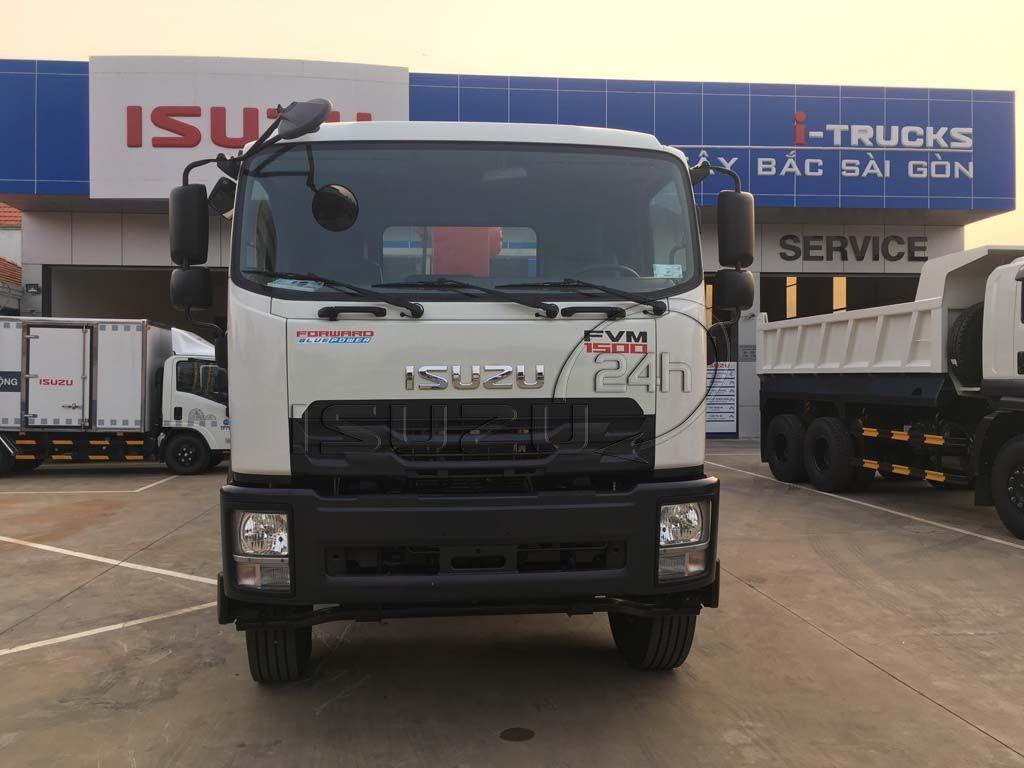 Xe tải Isuzu 15 tấn FVM 1500 thùng lửng gắn cẩu Unic 800 8 tấn 4 khúc