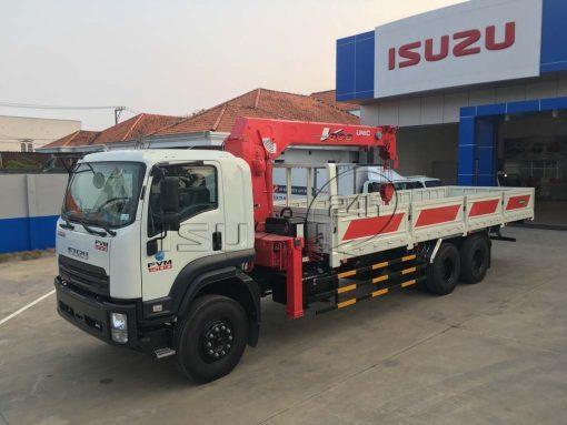 Tổng quát xe tải Isuzu 15 tấn FVM 1500 thùng lửng gắn cẩu Unic 800 8 tấn 4 khúc