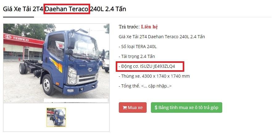 Xe tải Deahan Teraco động cơ Isuzu?