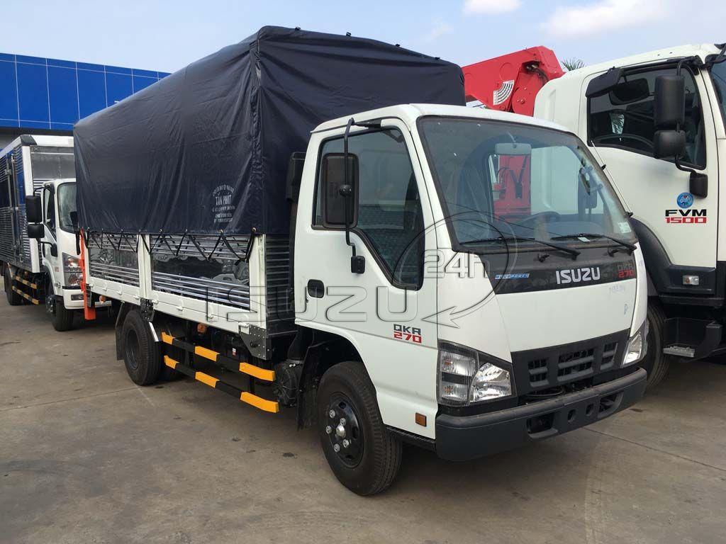 Bên phụ xe tải Isuzu QKR 270 1T9 gắn bửng nâng hạ hàng