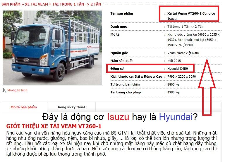 Xe tải Veam sử dụng động cơ Hyundai và Isuzu?