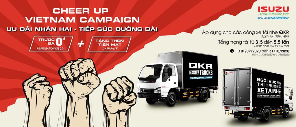 Banner khuyến mãi xe tải Isuzu QKR