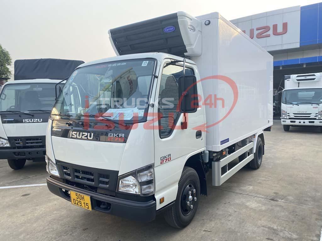 Xe tải Isuzu QKR 270 thùng đông lạnh Lamberet sử dụng máy lạnh Carrier Citimax 700 nhiệt độ -18 độ C